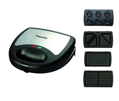 HOME Essentials - Multitoaster WAE-9615 [4 austauschbare Platten für Waffeln/Sandwich/Grill/Donuts, Antihaftbeschichtung, max. 750 Watt]