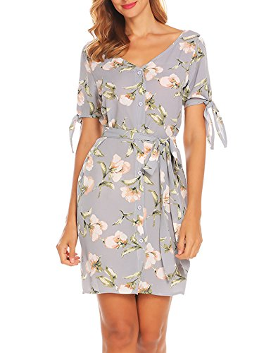 GEESENSS Women Floral Print Short Sleeve Button Down Cocktail Party Shirt Dress - Gray Floral Dress