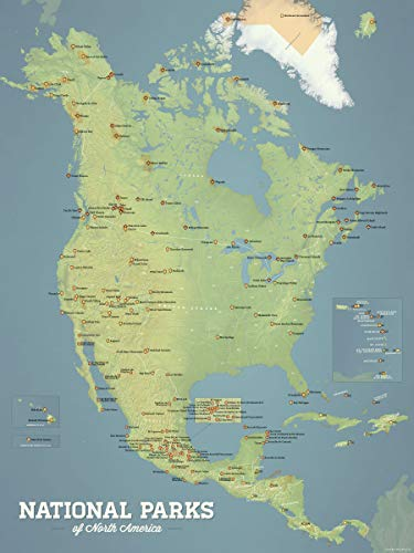 Best Maps Ever North America National Parks Map 18x24 Poster (Natural Earth)