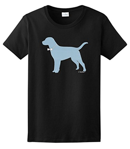 Polka Dot Dog with Bow Tie Ladies T-Shirt Large Black