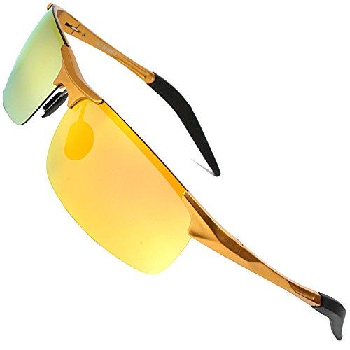 MOTELAN Men's Polarized Sunglasses for Driving Fishing Golf Metal Glasses UV400 Golden