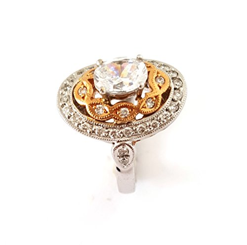 Cts Diamond Antique Style Ring - .45 CTS Oval Antique Style Diamond Semi-Mount 18k White Rose Gold Filigree Ring