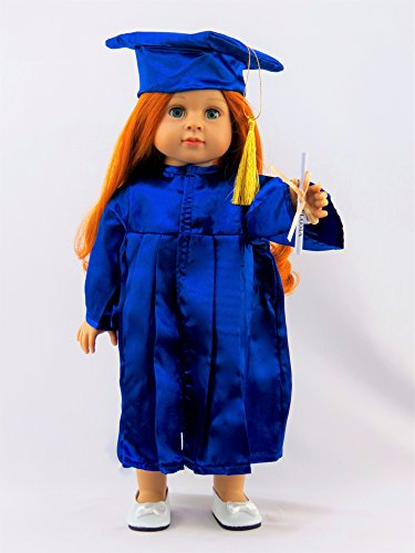 Blue Graduation Cap, Gown, and Diploma -Fits 18