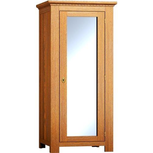 Echtholzschrank mit Spiegel 200x66x60 - Kleiderschrank massiv Holz Kiefer - Weiß matt