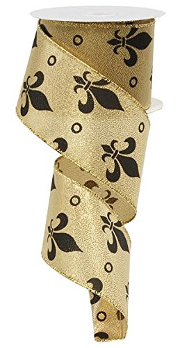 Fleur de Lis Wired Ribbon: Gold Black Mardi Gras 2.5