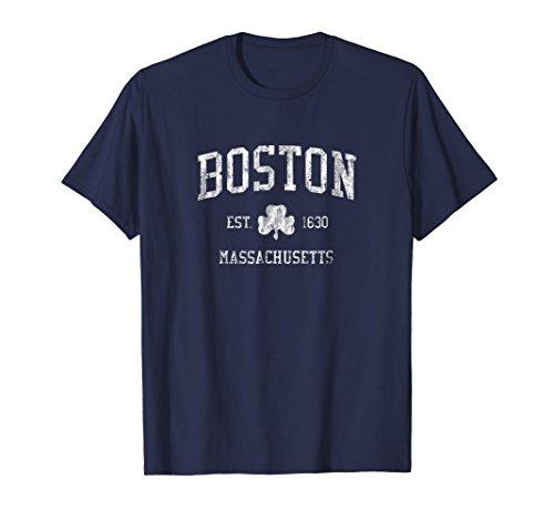 Boston MA T-Shirt Vintage Shamrock Sports Design Tee ()