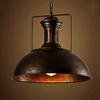 OYI Nautical Barn Pendant Light, Motent Industrial Vintage Metal Dome Mounted Lighting Fixture Antique Bowl Shaped Iron Wrought Adjustable Hanging Lamp for Bar Kitchen Cafe