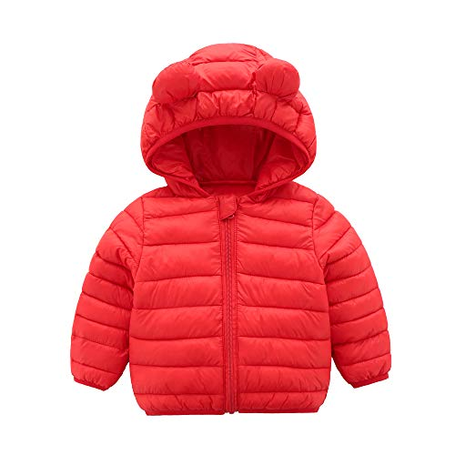 CECORC Winter Coats for Kids with Hoods (Padded) Light Puffer Jacket for Outdoor Warmth, Travel, Snow Play | Girls, Boys | Baby, Infants, Toddlers, 12-18 Months, Red