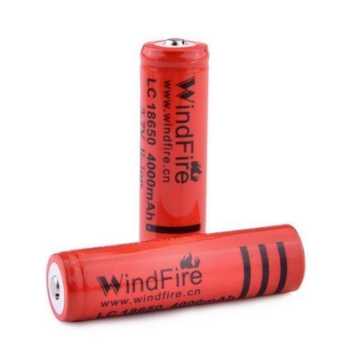 WindFire 2X 18650 4000mAh 3.7V Rechargeable Li-Ion Battery for LED Flashlight HeadLamp Bike Light LED Torch
