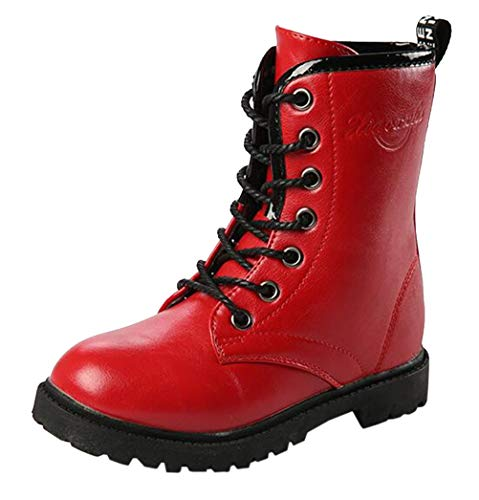 DADAWEN Boy's Girl's Waterproof Outdoor Combat Lace-Up Side Zipper Mid Calf Boots Red US Size 11 M Little Kid]()