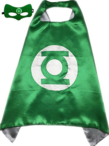 Superhero or Princess CAPE Adult Teen Size, Mens Womens Halloween Costume Cloak (M (43 inches), Green & Silver (Green (Green Lantern Womens Costume)