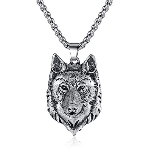 Everydaying Pewter Viking Fenrir Wolf Head Necklace, Celtic Pagan Wolf Lover Jewelry, Norse Forest Wolf Necklace, Handmade Amulet Pendant Necklace, Handcrafted Viking Jewelry Gift for Men Unisex
