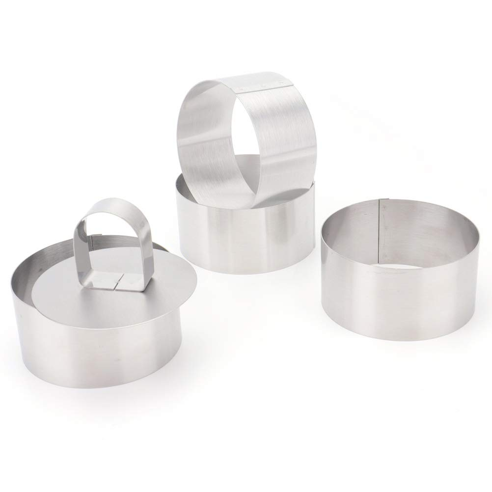 Tebery 3-Inch Stainless Steel Cake Rings Cake Mousse Mold for Pastry Cake Mousse and Pancake - Set of 4 with 1 Pusher