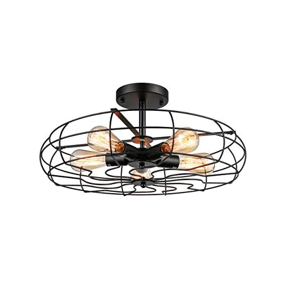 Semi Flush Mount Ceiling Light - BAYCHEER Vintage Pendant lights Industrial Chandelier Black Metal Cage Hanging Fixture… - NOTE: The goods will be delivered from amazon warehouse within 2-3 days!!! This Semi Flush Mount Ceiling Lights Can be used in Indoor Lighting, Hallway, Restaurant, Warehouse, Barn, Living Room and so on, if you want to install on a slop ceiling, it can be uesd a converter to achieve. Cage Height: 4.33 inch (11cm), Cage Width: 21.65 inch (55 cm), Ceiling Plate Width: 5.91 inch (15 cm). If you need the other size plate (10 cm/3.94 inch or 12 cm/4.72 inch), please contact us. Rod Length: 4.13 inch (10.5 cm), Ceiling Plate height: 0.98 inch (2.5 cm). Pipe diameter: 1.57 inch (4 cm). Packet Size: 22.4 x 22.4 x 5.12 inches (57 x 57 x 13 cm). Bulb types available include: Edison Bulb, LED, CFL or Incandescent. Bulb Base is E26 or E27(We can product 110v or 220v.). Recommended maximum per bulb power: 60w. - kitchen-dining-room-decor, kitchen-dining-room, chandeliers-lighting - 41yhBkLyIdL. SS570  -