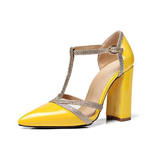 Nainen Kesäjuhla Keltainen hihna Korkokenkiä Naisten Häät 34 Sandalss z 47 T Kangas Gome Paksu Solki Glitter W81nAvRq