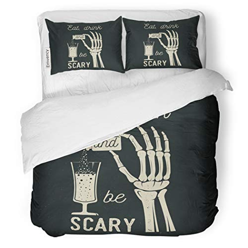 SanChic Duvet Cover Set Eat Drink Be Scary Halloween Retro Badge Overlay Labels Seal Stamp Skeleton Hand Potion Glass Decorative Bedding Set 2 Pillow Shams King -
