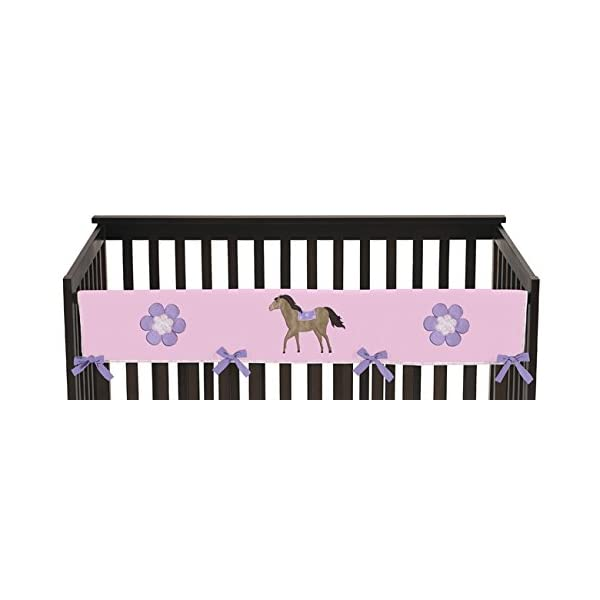 Sweet Jojo Designs Pretty Pony Horse Long Front Rail Guard Baby Teething Cover Crib Protector Wrap
