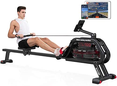 SNODE Water Rower Machine with Bluetooth Rowing Machine Indoor Exercise Rower with Free APP, Soft Seat, Smooth Quiet Home Fitness Workout