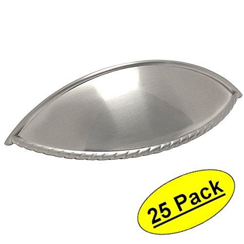 25 Pack - Cosmas 9237SN Satin Nickel Cabinet Hardware Rope Edge Bin Cup Drawer Handle Pull - 3-3/4