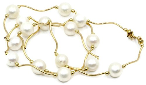 Freshwater 7mm -7.5 mm White Pearl Tin Cup Necklace 14k Yellow Gold Twisted Bars ()