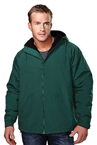 Tri-Mountain Heavyweight Toughlan Nylon Hooded Jacket - 8480 Conqueror Forest Green/Black
