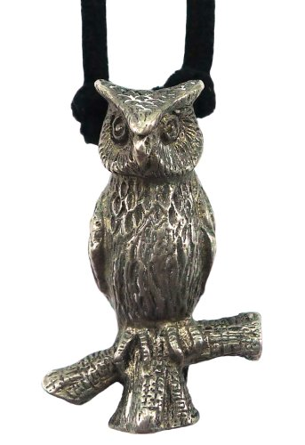 Bijoux De Ja Pewter 3D Owl Pendant Suede Cord Necklace 16 Inches