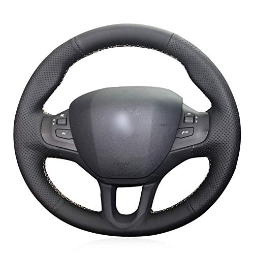 XHCP Black Faux Leather Car Wheel Steering Wheel Cover for Peugeot 208 2011-2019 Peugeot 2008 2013-2019: