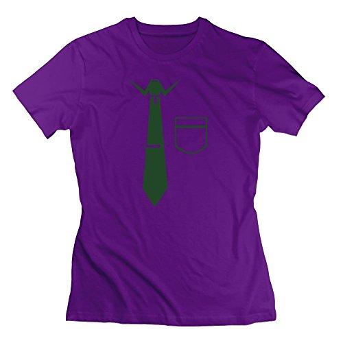 Cou Salle Costume Robe Cravate Des Femmes De T-shirts Violet