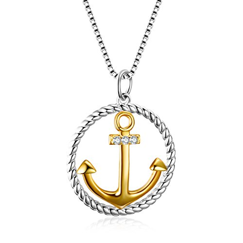 YAFEINI 925 Sterling Silver Boat Anchor Nautical Two-Tone Pendant Necklace Graduation Gifts for Girls Women