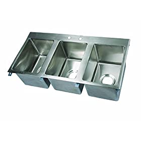 John Boos PB-DISINK101410-3 Deck Mount Pro-Bowl Drop-In Hand Sink, 10″ Length x 14″ Width x 10″ Depth, 3 Sink