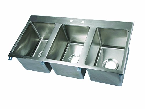 John Boos PB-DISINK101410-3 Deck Mount Pro-Bowl Drop-In Hand Sink, 10'' Length x 14'' Width x 10'' Depth, 3 Sink by John Boos