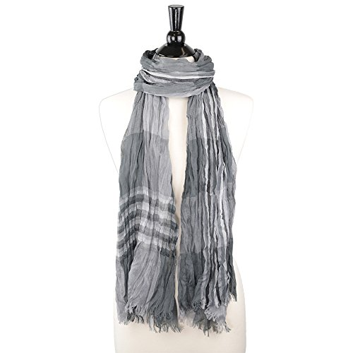 Stripe Crinkle Scarf (Pop Fashion Women's Long Tissue Scarf with Frayed Design and Scrunch Texture (Grey with Stripes) MSRP 39.99)