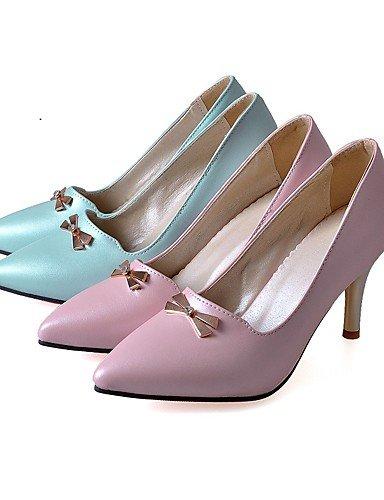 GGX/Damen Heels Sommer/Herbst Heels/spitz Zehen PU Office & Karriere/Casual Stiletto-Absatz Aufnäher blau/pink pink-us10.5 / eu42 / uk8.5 / cn43
