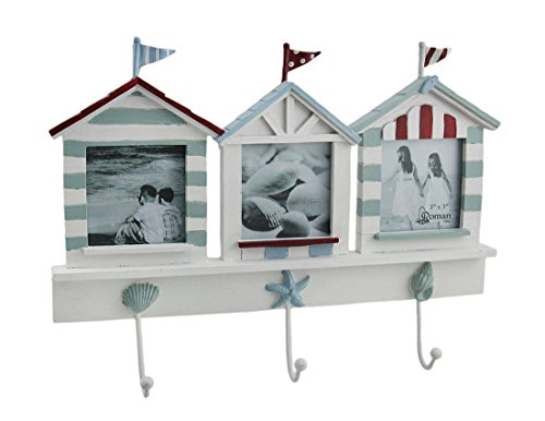 Zeckos Wood & Glass Frames Beach House Triple Picture Frame & Decorative Wall Hook Hanging 11.5 X 9 X 1.5 Inches White