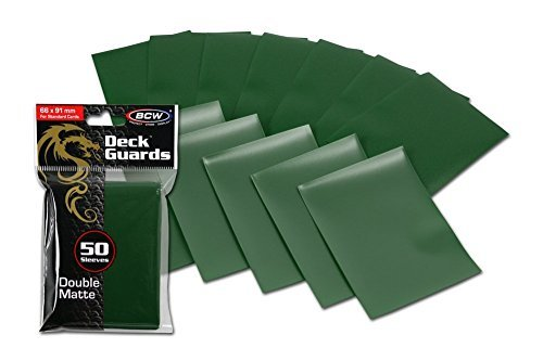 100 Premium Green Double Matte Deck Guard Sleeve Protectors for Gaming Cards like Magic The Gathering MTG, Pokemon, YU-GI-OH!, & More.
