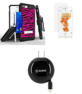 Apple iPhone 8 Plus - Accessory Bundle: [Pink Zebra] Dual Layer [Military Grade] Case, [Apple MFI Certified] 12W Retractable Lightning Wall Charger, Glass Screen Protector, Atom LED