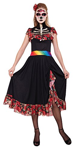 Bristol Novelty AC654 Day of The Dead Lady Costume, UK 10-14 -