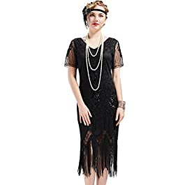 ArtiDeco 1920s Flapper Fringed Sequin Dress Roaring 20s Fancy Dress Gatsby Costume Dress V Neck Vintage Beaded Evening Dress