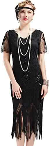 BABEYOND 1920s Art Deco Fringed Sequin Dress 20s Flapper Gatsby Costume Dress
