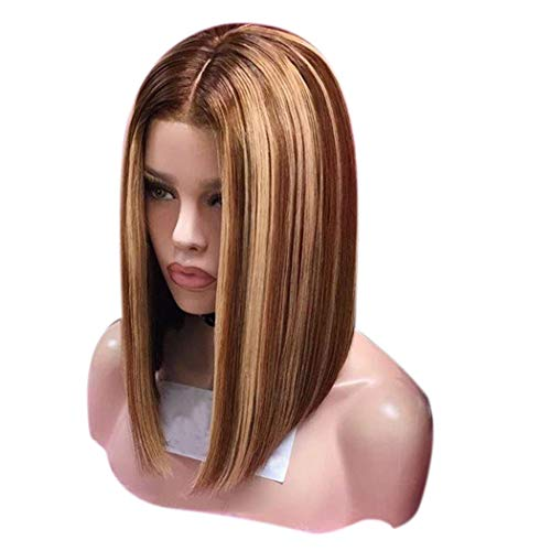 Inkach Clearance Short Bob Wigs, Middle Part Straight Blonde Mixed Color Female Wig Heat Resistant Synthetic Fiber Hair for Black Women Costume Cosplay Party Wig (Gold)]()