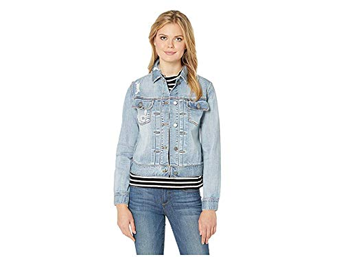 Liverpool Women's Pleated Front Denim Jacket in Vintage Super Comfort Stretch Denim Glenmore Destruct Small ()