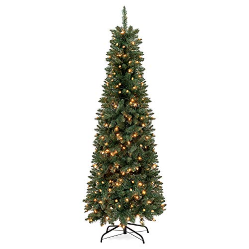 Best Choice Products 6.5ft Pre-Lit Hinged Fir Artificial Pencil Christmas Tree w/ 250 Clear Lights, 719 Tips, Foldable Stand - Green