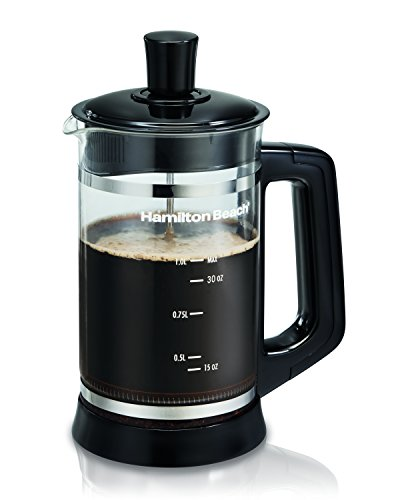Hamilton Beach 40400R French Press with Frothing Attachment for for Coffee, Hot Chocolate or Tea, 1 Liter, Glass