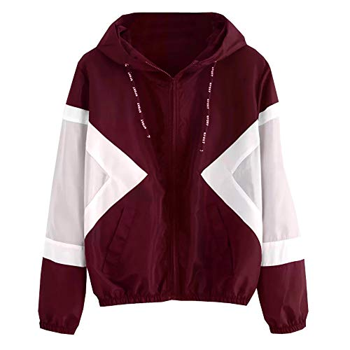 Seaintheson Clearance Women Long Sleeve Patchwork Thin Color Block Hooded Zipper Jacket Pockets Windproof Sport Coat