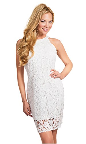 Women Pencil Dresses White Lace Cold Shoulder Midi Bodycon Ladies Evening Party Dresses Bridesmaid Wedding Floral Dresses Sleeveless(White,XXL)