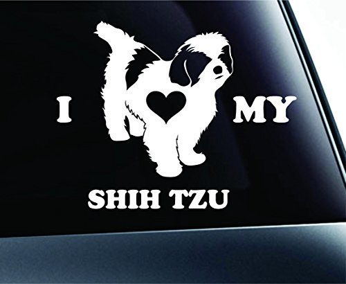 I Love My Shih Tzu Symbol Decal Paw Print Dog Puppy Pet Family Breed Love Car Truck Sticker Window (White), Decal Sticker Vinyl Car Home Truck Window Laptop