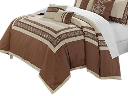 Chic Home 7-Piece Venice Embroidered Comforter Set, Queen, Taupe Beige (Piece Venice 7)