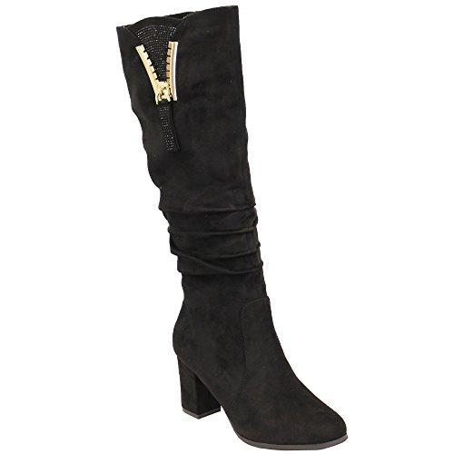 B7551 Bloc Mollet Look Femmes Noir Pour Daim Genoux Bottes Chaussures Fourrure Long Talon Doublé Hiver YBqzqw6