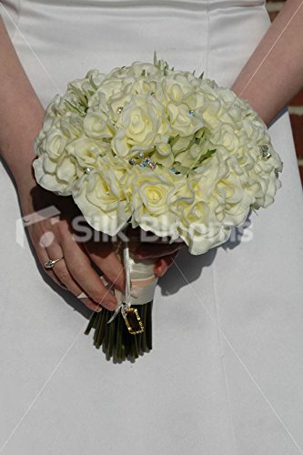 Amazoncom Ivory Real Touch Rose Bridal Bouquet W Picture Frame