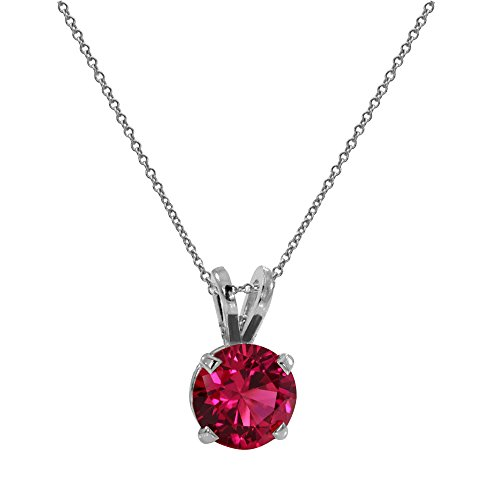 (Voss+Agin 14K White or Yellow Gold Lab Created Round Ruby Solitaire Pendant (8mm) (white-gold))